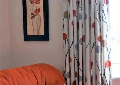 Goblet headed curtains and coordinating cushions handmade in Wymondham Norwich