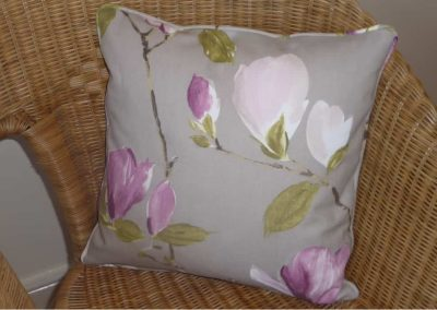 Bespoke cushion with self-piping handmade in Wymondham Norwich