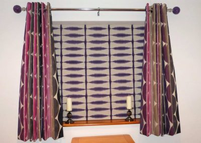 Eyelet headed curtains and Roman blind handmade in Wymondham Norwich