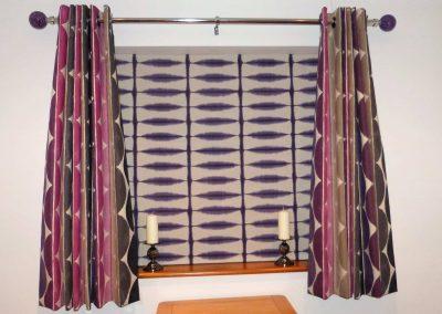 Eyelet headed curtains and Roman blind handmade in Wymondham Norwich