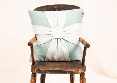 Bespoke bow cushion handmade in Wymondham Norwich