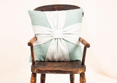 Bespoke bow cushion handmade in Wymondham Norwich
