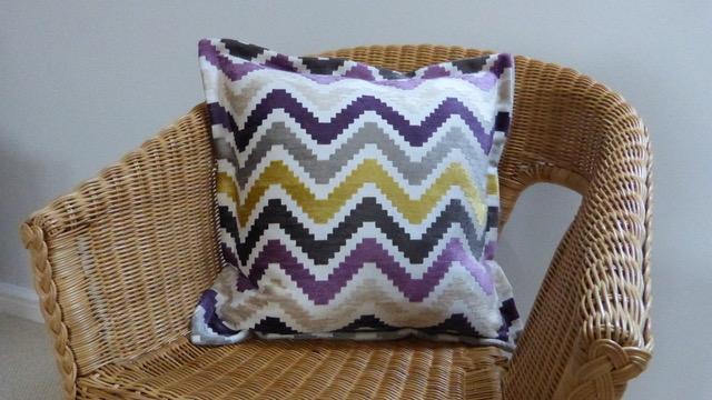 striped cushion handmade in wymondham